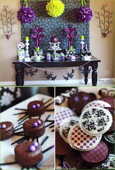 Purple & Green Halloween party decor