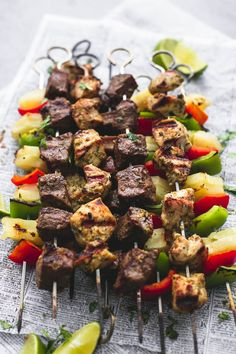 Thanks to @cremedelacrumb   Juicy and tender grilled Brazilian steak & chicken kabobs with peppers and pineapple have the most incredible flavors and are a cinch to make with a simple marinade.