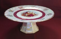 Iridescent China Romantic Cake Stand Made in Japan by Cosmos by AmericanVintageAve on Etsy