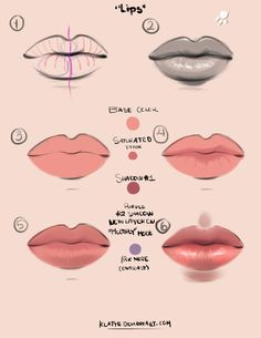 Lips tutorial by ~Klatte on deviantART ✤ || CHARACTER DESIGN REFERENCES…