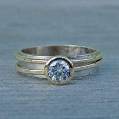 Moissanite, Recycled 14k Yellow Gold, and Recycled 18k Palladium White Gold Ring by McFarland Designs