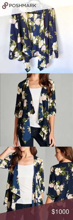 NEW 🌿🌻 Floral Navy Printed Cardigan Draped Front + Floral Printed Navy Cardigan {why isn't there a navy heart?!} 💙 + 100% polyester | NO OFFERS AND NO TRADES + Size chart included!   ✨ If you would like any additional photos or if you have any questions... please let me know! The Chic Petunia Tops