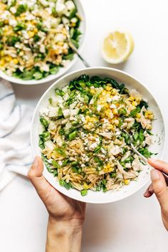 Orzo Summer Salad! With chicken and orzo, loaded with fresh veggies, and finished with a zippy lemon dressing and goat cheese. #pasta #salad #healthy #recipe #easyrecipe #cleaneating | pinchofyum.com