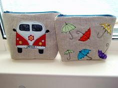 cute appliqued pouches...