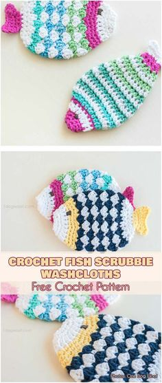 CROCHET FISH SCRUBBIE WASHCLOTHS Free Pattern #freecrochetpatterns