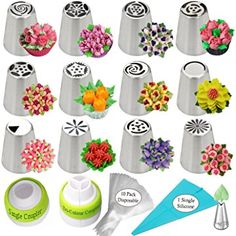 K&S Artisan Russian Piping Tips 26-Pcs Russian Nozzles For Flower Frosting Icing Decorating Supplies Kit 12 Icing Nozzles 2 Couplers 10 Pastry Baking Bags 1 Silicone Bag 1 Leaf Tip in a GIFT BOX!