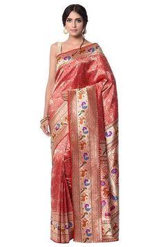 Red and gold Banarasi kimkhab shikargah Saree