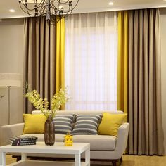 New Living Room Colors Yellow Curtains 65 Ideas Living Room Decor Curtains, Home Curtains, Living Room Colors, Home Living Room, Living Room Designs, Modern Curtains, Living Room Grey, Rideaux Design, Curtain Styles