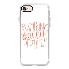Pumpkin Spiced Fo Life - Coral - iPhone 7 Case, iPhone 7 Plus Case,... ($40) ❤ liked on Polyvore featuring accessories, tech accessories, iphone case, slim iphone case, iphone cases, apple iphone cases and iphone cover case