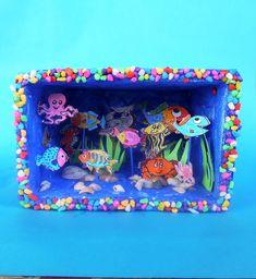 ESCAPE='HTML' Craft Activities For Kids, Preschool Crafts, Diy Crafts For Kids, Kindergarten Posters, Kindergarten Art Projects, Ocean Projects, Projects For Kids, Ocean Diorama, Aquarium Craft