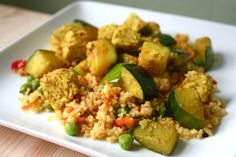 Coriander Tempeh & Zucchini w/ Couscous Upma by jmgearing