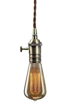 PureLume™ Vintage Alt-Messing Rendel Schmucklampe Pendeleuchte Hängelampe mit Edison 40W Glühbirne: Amazon.de: Beleuchtung