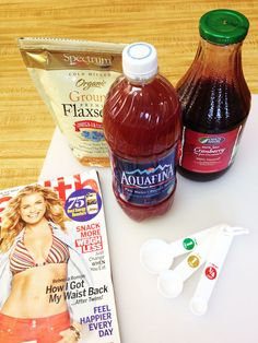 Cranberry Fat Flush- 1 cup unsweetened cranberry juice, 2 Tbl flaxseeds, fill remainder of 2 litter bottle with water