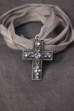 Long grey silver bohemian luxury cross pendant necklace linen ribbon - limited edition Shabby chic layering