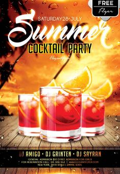 "Plantilla PSD gratis ""Summer Cocktail Party"""