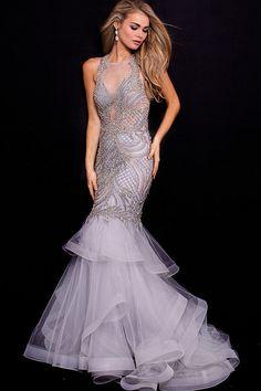 Jovani - 59872 Crystal Embellished Lattice Mermaid Gown