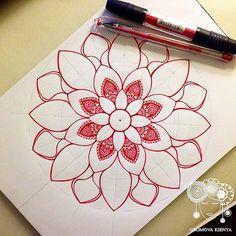 mandala by Gromova_Ksenya Mandala Doodle, Mandala Art Lesson, Mandala Drawing, Mandala Tattoo, Doodle Art, Drawing Drawing, Zantangle Art, Pen Art, Islamic Art Pattern