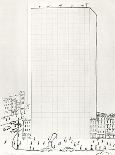 SAUL STEINBERG, GRAPH PAPER BUILDING, 1950