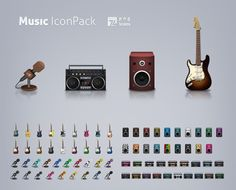 XOO Plate :: 74 Music Theme UI Icons Pack PNG - 4 Different music related icons - electric guitar, boombox, speaker and microphone - in pack of 74 icon colors and styles. PNG.