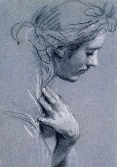Head in profile study for a kneeling angel, (Black chalk heightened with white chalk) , Louis de Boulogne. (1654-1733)