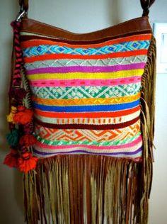 Colorful Boho Andean Textile Fringe Bag by KanikaCreations on Etsy