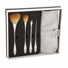 4 Makeup Brushes   Brush Roll Case Set ABT Advanced Beauty Tools Face Eye ** You can find out more details at the link of the image.