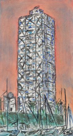 Hotel Arts de Barcelona pintura# cuadro del Hotel arts de  Barcelona# Pinturas sobre Barcelona# pinturas murales#