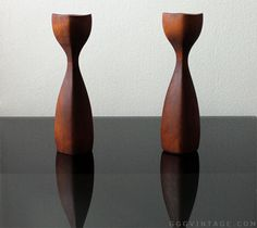 RARE PAIR OF DANISH TEAK SCULPTURAL 4 SIDED MID-CENTURY MODERN BRASS LINED CANDLE STICK HOLDERS - 8 INCHES - SOLD www.XOatom.com Candlestick Holders, Candlesticks, Mid Century Decor, Mid Century Modern Furniture, Light Decorations, Vintage Decor, Danish, Teak, Mid-century Modern