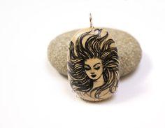 Original art on stone as pendant: original by MagicsOfCreation
