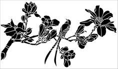 Birds & Blossom No 4 stencil from The Stencil Library online catalogue. Buy stencils online. Stencil code JA117.