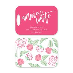 Floral Personalized Luggage Tag by Peony Hill Press. These make great gifts for grads, dads, moms, newlyweds and more! #peonyhillpress #php #luggage #luggagetag #baggage #baggagetag #gift #newlywed #kid #grad #floral #flowers