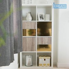 """Create Your World Ltd on Instagram: """"A quick #ikeahack for this #kallax unit doors, using a combo of Sanremo Oak and Glossy Gold vinyl film 😍  . . . . . #audiophile #home…"""" Ikea Furniture Hacks, Furniture Makeover, Furniture Decor, Ikea Kallax Shelving, Ikea Kallax Unit, Dc Fix, Sticky Back Plastic, Diy Home Decor On A Budget, Drawers"""