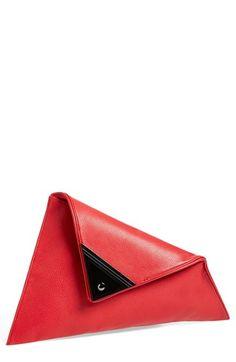 Sondra Roberts Modern Prep Faux Leather Triangle Clutch