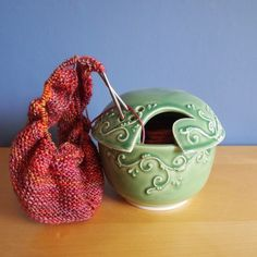 The glaze combination on this yarn bowl is one of our all-time favorites.