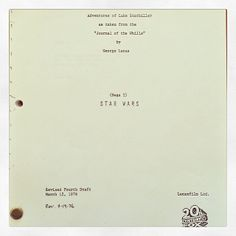 """The adventures of Luke Starkiller as taken from the """"Journal of the Whills"""" by George Lucas #StarWars #script #StarWarsDay"""