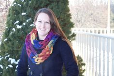 Knit Multicolor Infinity Scarf - Purple/Gold/Blue/Red - Perfect Winter Accessory