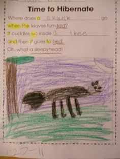 Cute animal hibernation poem!  Love this idea for our poetry journals!