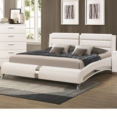 Silver-toned metal adds a gleaming, futuristic accent to the Coaster Furniture Felicity Upholstered Panel Queen Bed . This bed is upholstered in. Platform Bedroom, Modern Platform Bed, Upholstered Platform Bed, Upholstered Beds, White Bedroom Set, 5 Piece Bedroom Set, Bedroom Sets, Target Bedroom, Bedroom Furniture Sets