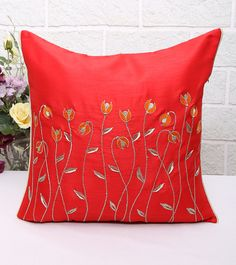Red Embroidered Poly Dupion Cushion Cover #indianroots #homedecor #cushioncover