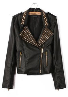 Love! Love! Love! Black Rivet Notch Lapel Vegan Leather Biker Style Jacket #Black #Vegan #Leather #Riveted #Biker #Style #Fall #Fashion #Finds