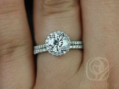 Kimberly 6.5mm 14kt White GoldRound FB Moissanite and Diamonds Halo Wedding Set (Other metals and stone options available)