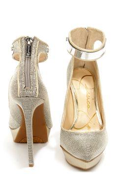 Jessica Simpson Voilla Silver Metal Mesh Pointed Platform Heels at LuLus.com! #obsessed