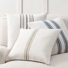 Shop culver reversible stripe grainsack pillow cover from Pottery Barn. Our furniture, home decor and accessories collections feature culver reversible stripe grainsack pillow cover in quality materials and classic styles. Coral Pillows, Linen Pillows, Bed Pillows, Accent Pillows, Sofa Cushions, Bed Linens, Lumbar Pillow, Pottery Barn, Pillow Texture