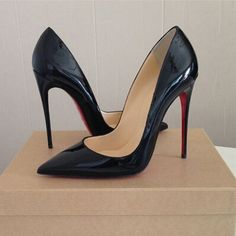 Top Quality Women Pumps Cow Muscle Red Bottom High Heels Sexy Pointed Toe  Red Sole Wedding Shoes Size 12 heels Plus Size 64ccbcffb730