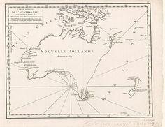 Nouvelle Hollande, 1756, Didier Robert de Vaugondy, a partly explored coastline of Australia and an incomplete New Zealand.