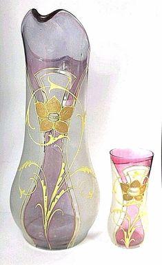 """ANTIQUE Victorian Satin Floral ENAMELED GLASS Large Water PITCHER Tumbler 12.5"""" #ArtNouveau"""