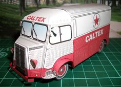 Caltex Oil Citroën HY Van Free Vehicle Paper Model Download - http://www.papercraftsquare.com/caltex-oil-citroen-hy-van-free-vehicle-paper-model-download.html#150, #Citroen, #CitroënHY, #Green, #Red, #Van, #VehiclePaperModel