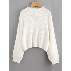 Drop Shoulder Lantern Sleeve Jumper ($21) ❤ liked on Polyvore featuring tops, sweaters, white, white crew neck sweater, loose sweater, white jumper, white long sleeve top and crew-neck sweaters