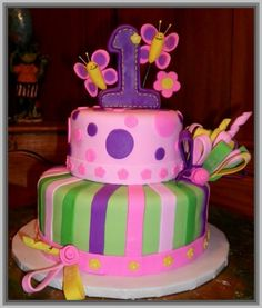 Pink And Green St Birthday Cake Party Ideas Pinterest - 1st girl birthday cake