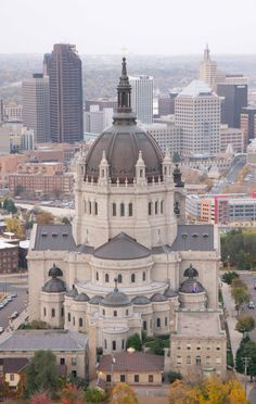 Aerial view Cathedral of Saint Paul,  St Paul, Minnesota. Even though i see it a lot its pretty